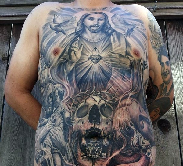 Large religious style colored whole chest tattoo