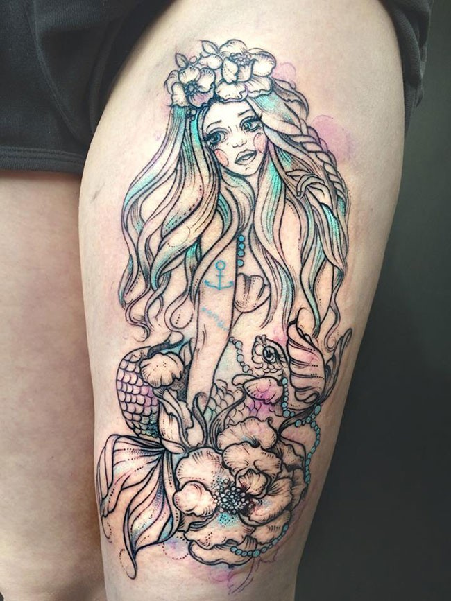 Great mermaid pictures for Colorful thigh tattoos