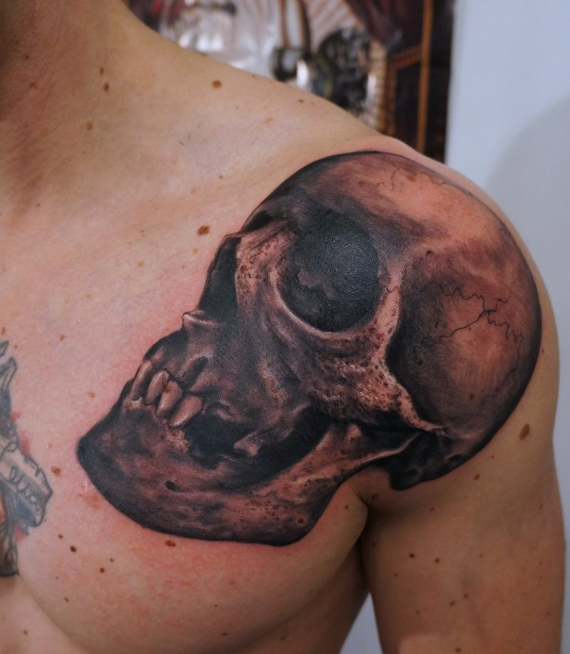 Realistic skull tattoo on  shoulder by graynd