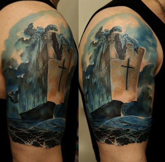 Large spectacular looking fantasy ship with big cross