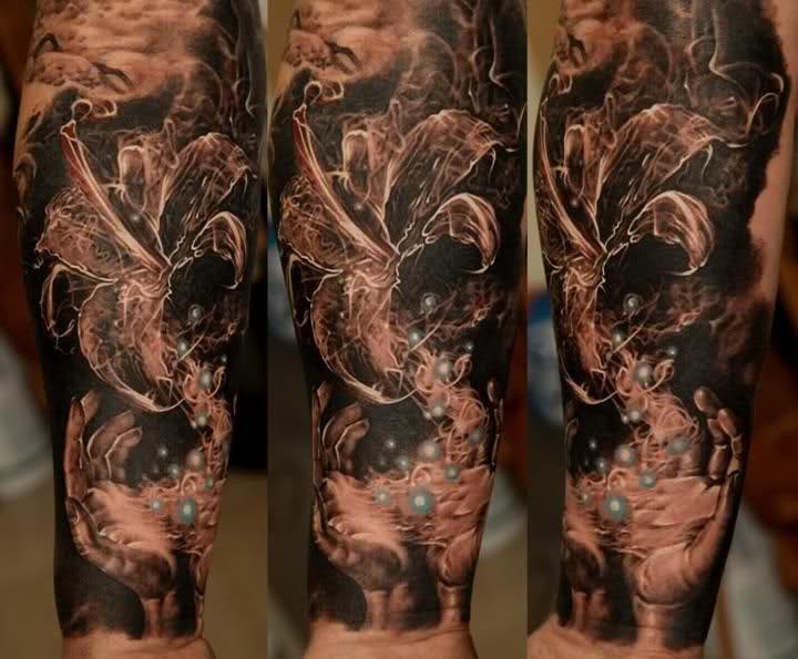 Large spectacular style forearm tattoo of magical flower