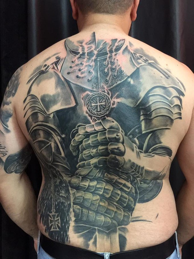 Large very detailed whole back tattoo of big medieval for Medieval armor tattoo