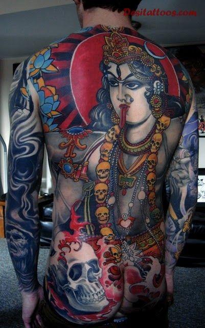 Large whole back tattoo of Hinduism Goddess with skulls