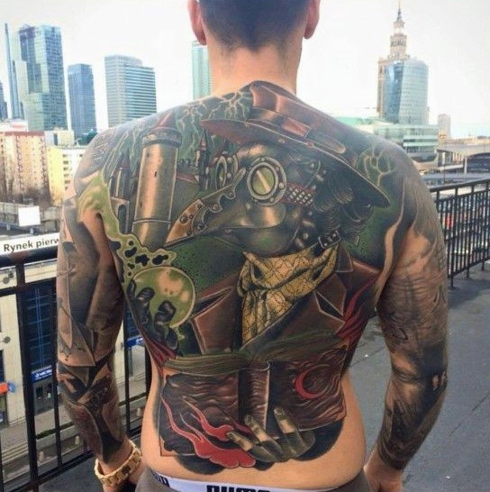 Large whole back tattoo of plague doctor with book