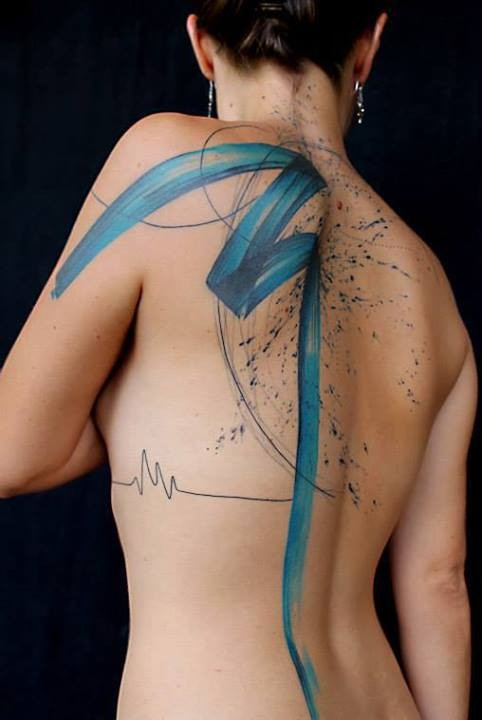 Large whole body tattoo of blue line