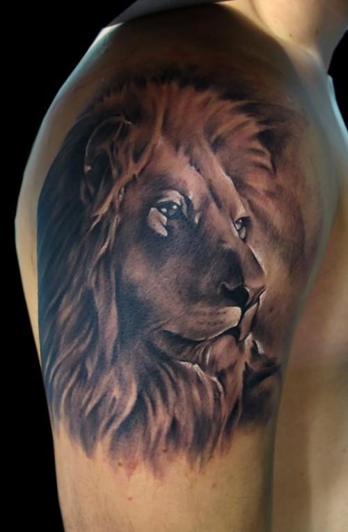 Tatuaggio realistico della spalla dipinto di un ritratto di leone stabile