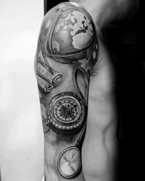 Lifelike black ink sleeve tattoo of big compass with globe and map