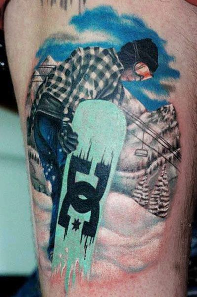 Lifelike colored thigh tattoo of cool man with snowboard