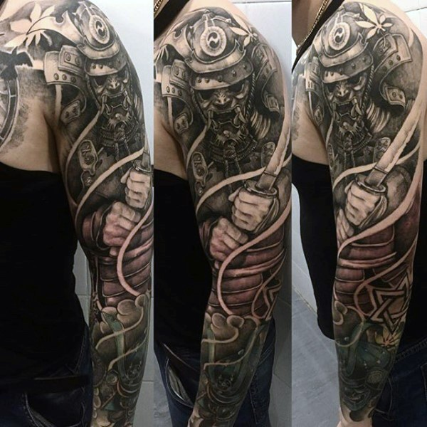 Lifelike detailed colored sleeve tattoo of angry samurai warrior with sword