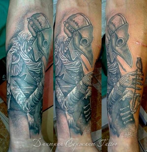 Lifelike impressive looking forearm tattoo of plague doctor with little bird