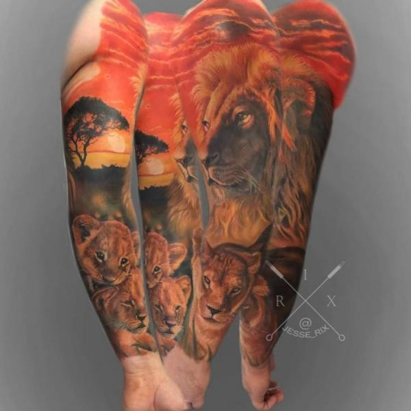Lifelike natural looking sleeve tattoo of lion