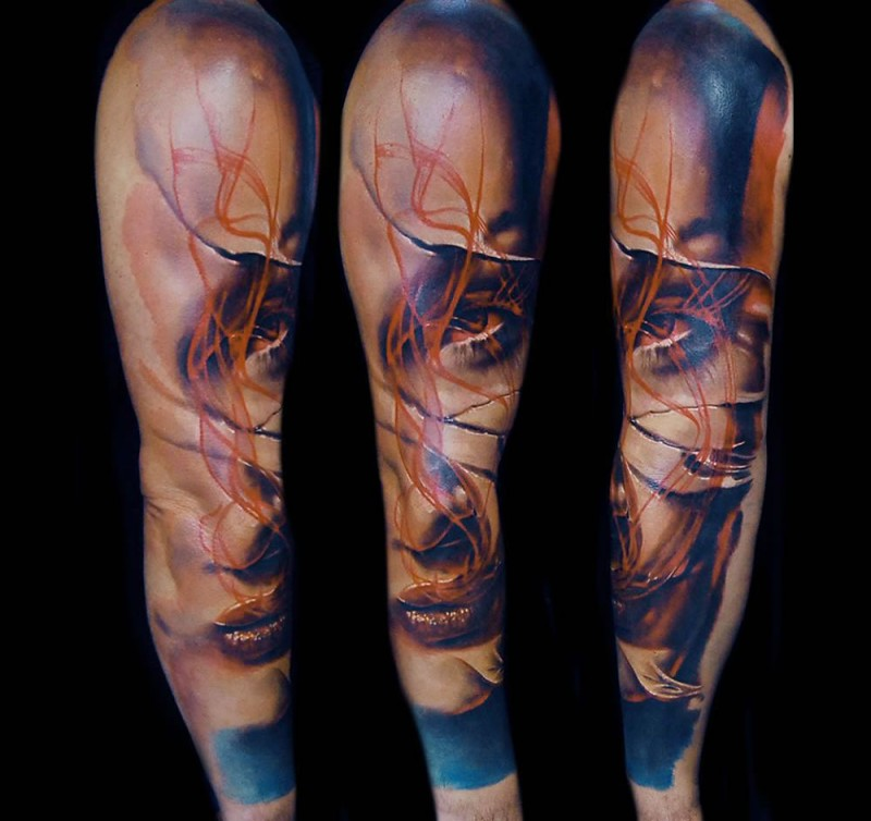 Lifelike realism style colored sleeve tattoo of woman face with scars