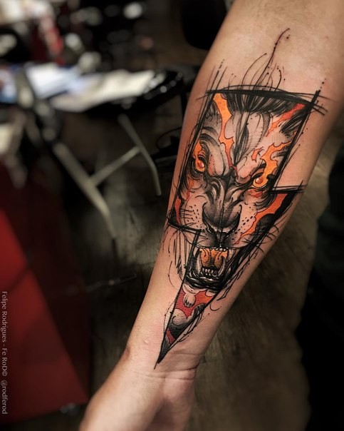 Lightning Style Colored Forearm Tattoo Of Demonic Lion Face
