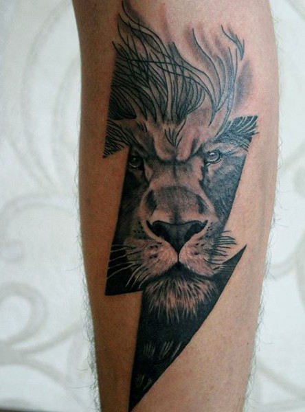 Lightning symbol shaped forearm tattoo combined with lion face
