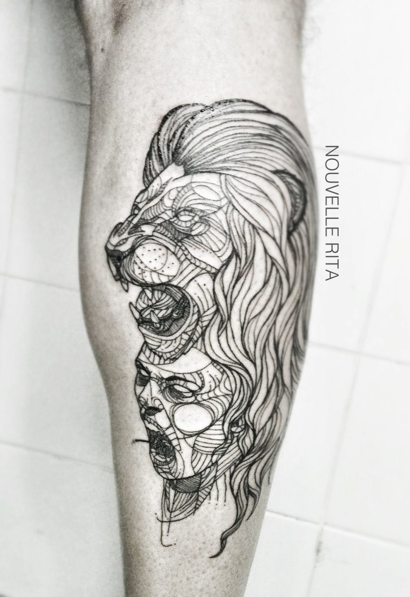Line work style leg muscle tattoo of lion and woman stylized with ornaments