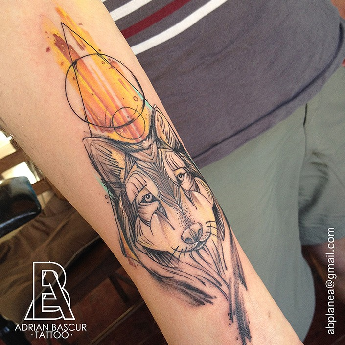 Linework style amazing looking forearm tattoo of wolf head