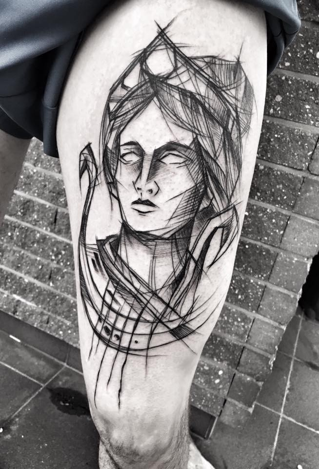 Linework style amazing looking thigh tattoo of woman portrait by Inez Janiak
