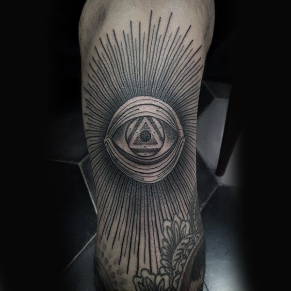 Linework style black ink arm tattoo of mystical eye