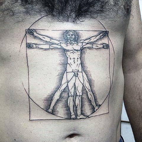 Tatuaggio di pancia inchiostro nero stile linework del ritratto uomo vitruviano