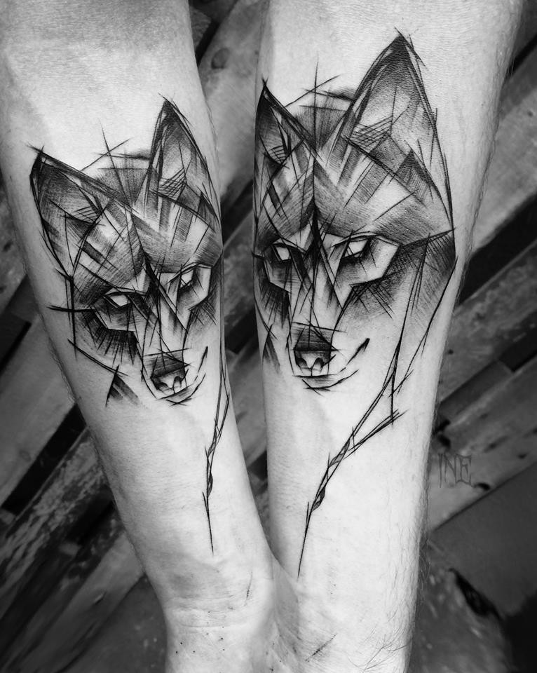 Linework style black ink forearm tattoo of wolf sketch by Inez Janiak