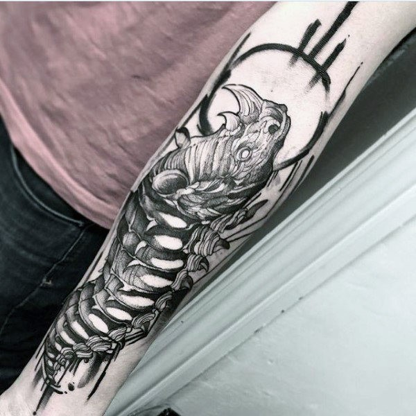 Linework style black ink forearm tattoo of rhino skeleton