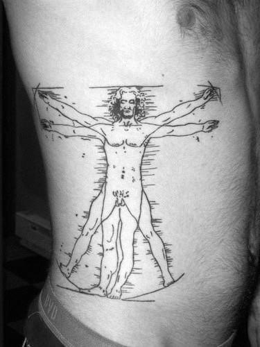 Tatuaggio lato inchiostro in inchiostro nero stile linoleum