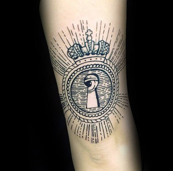 Linework style black ink tattoo of keyhole with eye