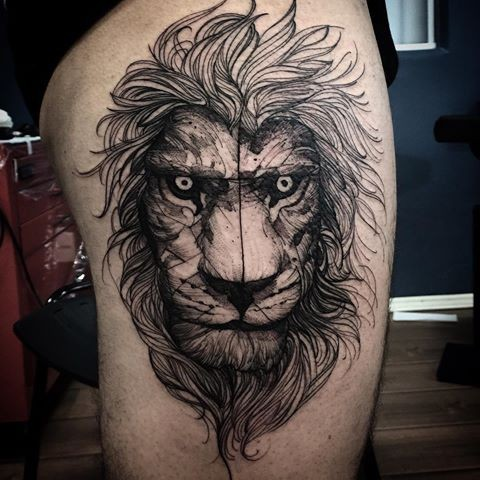 Linework style black ink thigh tattoo of lion head