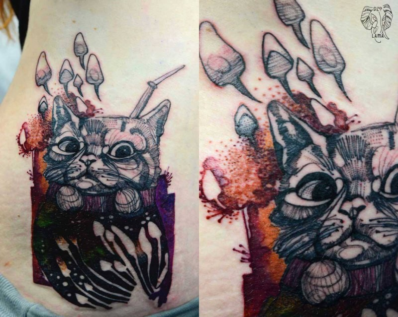 Linework style colored waist tattoo of cat with mushrooms