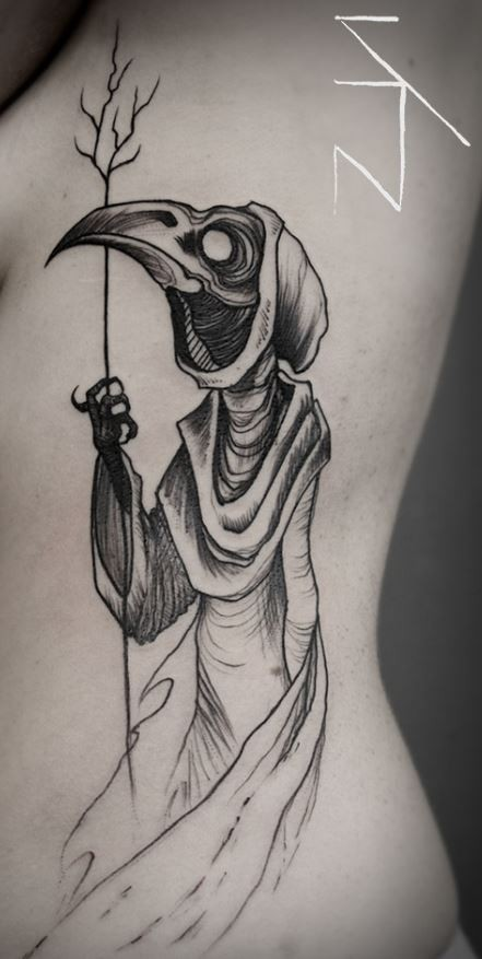 Linework style creepy looking tattoo of plague doctor