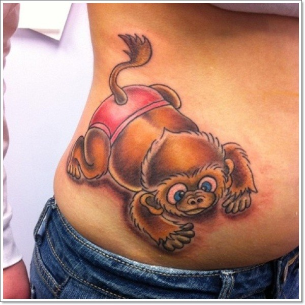 little 3d cartoon colored cute monkey tattoo on waist. Black Bedroom Furniture Sets. Home Design Ideas