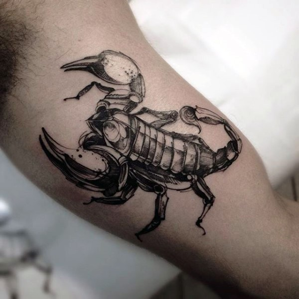 Little 3D like black and white detailed scorpion tattoo on biceps