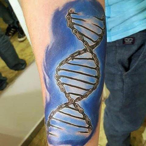Little 3d like multicolored dna shaped chain tattoo on arm for Chain tattoo on arm