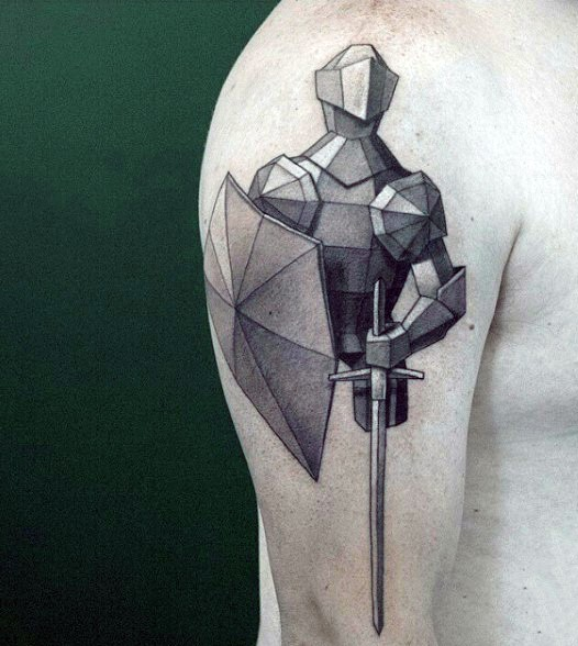 Little abstract style black and white medieval knight tattoo on arm top
