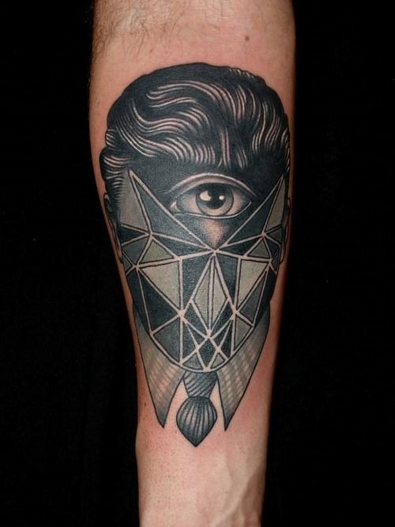 piccolo astratto stile geometrico ritratto senza volto tatuaggio su braccio