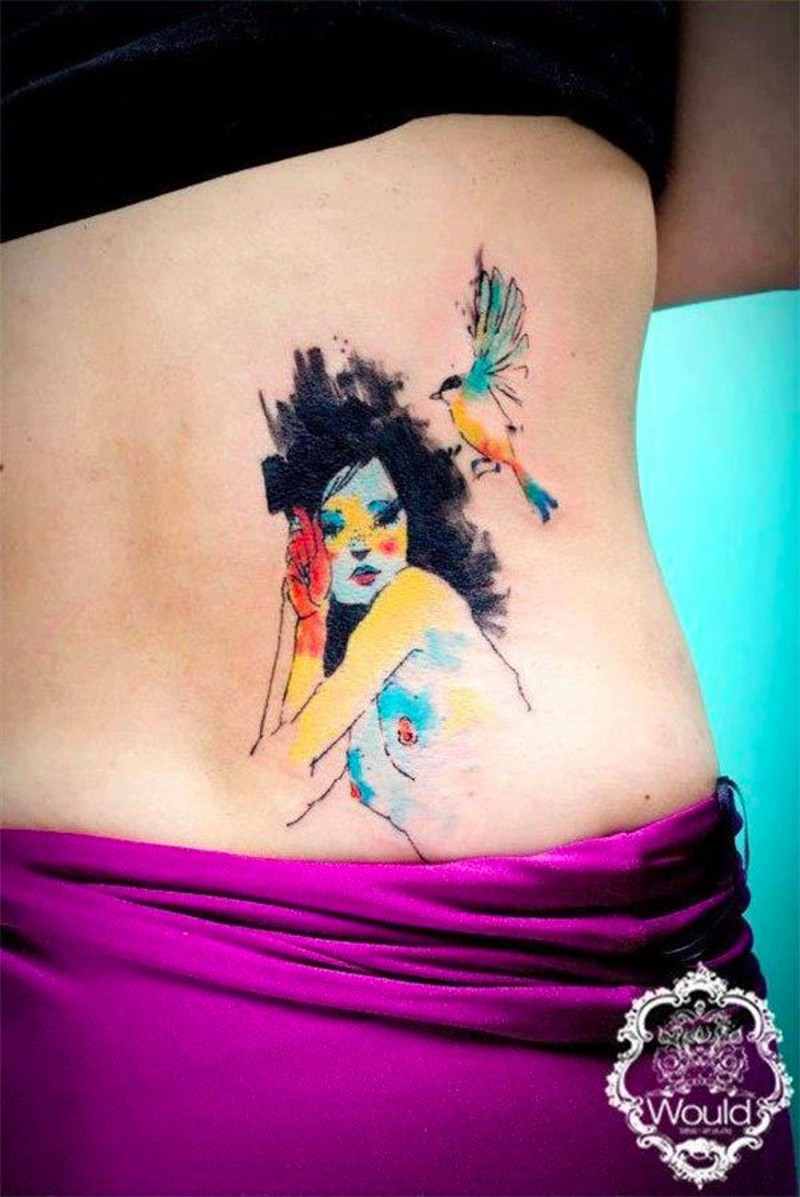 Little abstract style multicolored woman with bird tattoo on waist