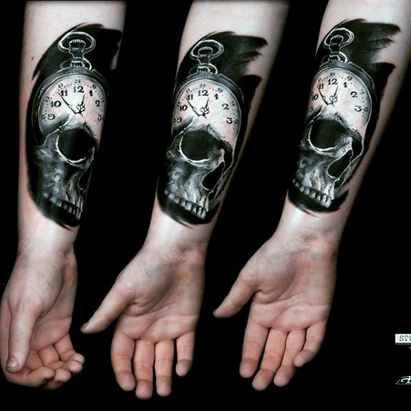 Black And Gray Clock And Skull Tattoos On Bicep: Little Black And White Clock With Skull Tattoo On Arm