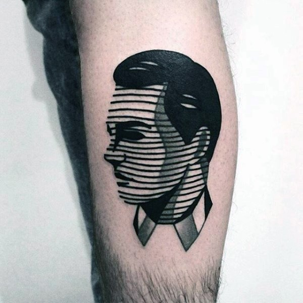 Little black and white man portrait tattoo stylized with black linces