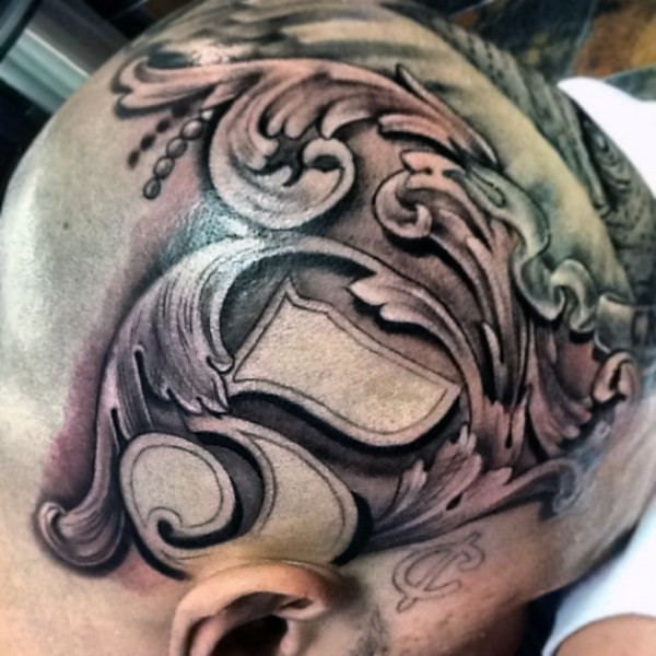 Little black and white number tattoo on head