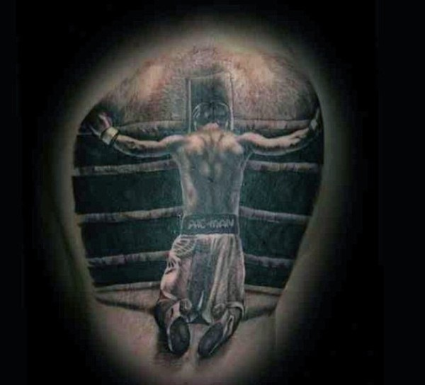 Little black and white praying boxer tattoo on arm top