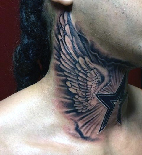 Little black and white star with wings tattoo on neck