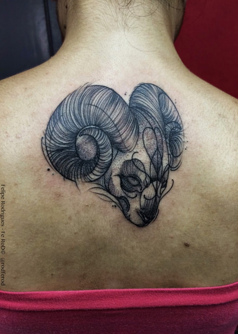 Little black ink 3D like tribal goat sketch tattoo on upper back
