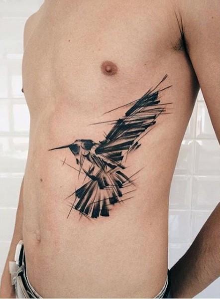 piccolo inchiostro nero astratto corvo tatuaggio su lato