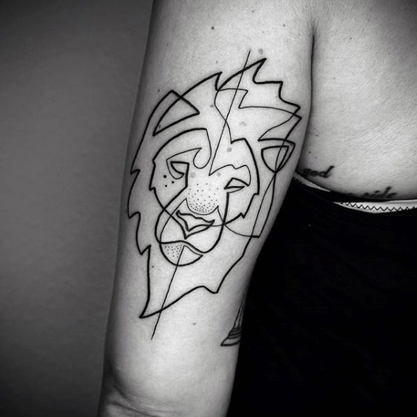 Little black ink abstract lion tattoo on arm