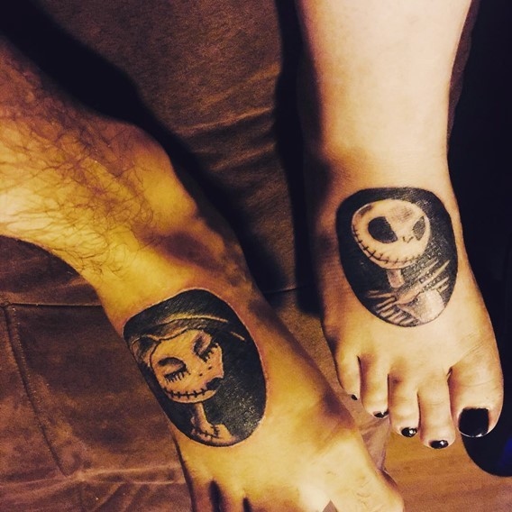 Little black ink Nightmare before Christmas monsters couple tattoo on feet zone