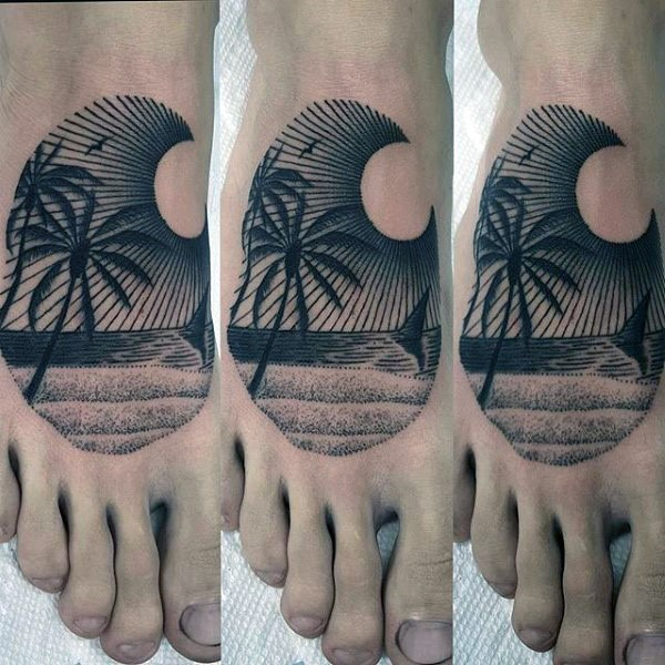 Little black ink ocean shore with palm tree tattoo on foot