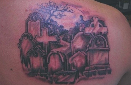 Little black ink shoulder tattoo of old dark cemetery