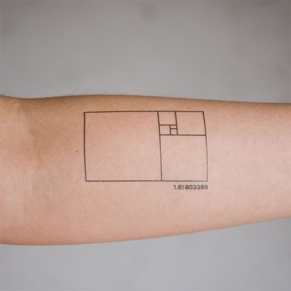 Little Black Ink Simple Forearm Tattoo Of Geometrical Figure With