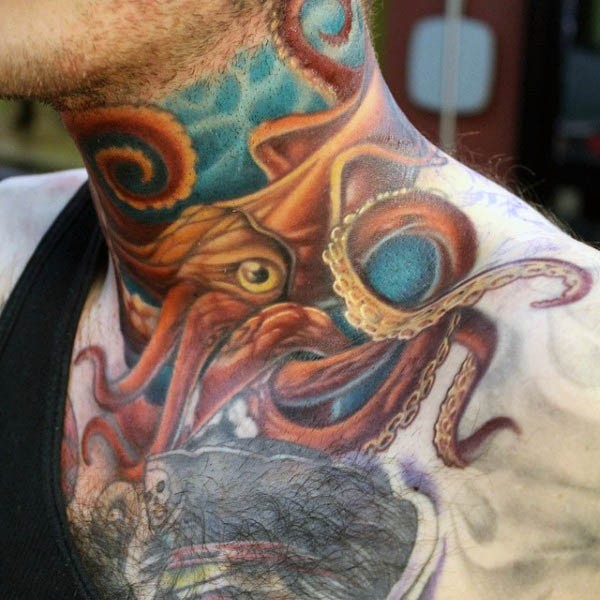 Little colored and detailed squid tattoo on neck