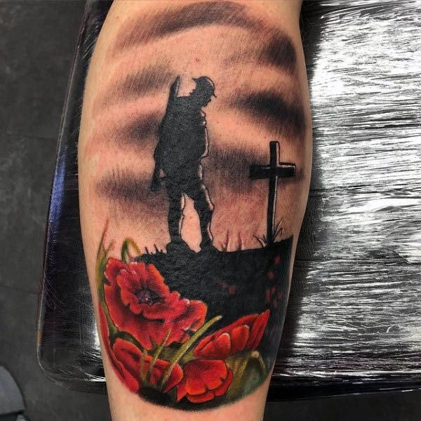 Memorial War Solider Designs: Little Colored Military Memorial Tattoo On Leg With